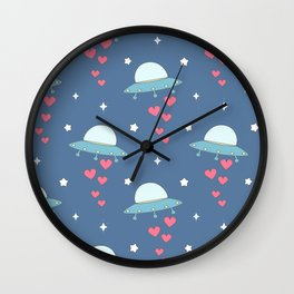 cute cartoon colorful ufo with hearts pattern Wall Clock