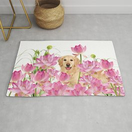Labrador Retrievers with Lotos Flower Rug