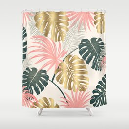 Tropical Print with Gold Shower Curtain