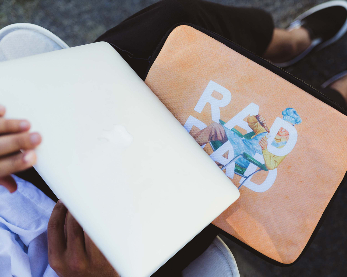 """Rad Dad"" laptop sleeve by Heather Landis"