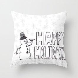 Snowman (Happy Holidays) Throw Pillow