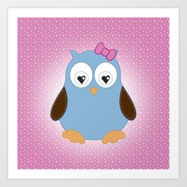 Cool Hooter - Owl illustration pink and blue Art Print