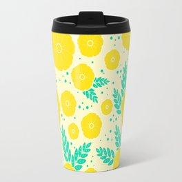 Lemon Yellow Floral Pattern Travel Mug