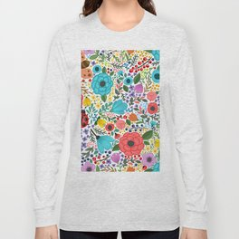 Colorful Vintage Spring Flowers Long Sleeve T-shirt
