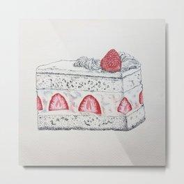 Strawberry Cake -- Painstaking Pastry Metal Print