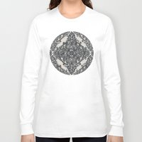 lace Long Sleeve T-shirts featuring Charcoal Lace Pencil Doodle by micklyn