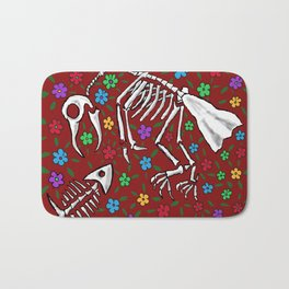 Bird and Fish Skeletons on Bed of Flowers Bath Mat