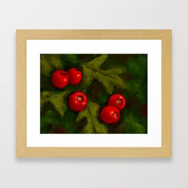 Hawthorn Berries, Oil Pastel Painting Framed Art Print