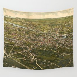 Vintage Pictorial Map of Stamford CT (1883) Wall Tapestry