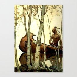 "N C Wyeth Vintage Western Painting ""Birchbark Canoe"" Canvas Print"