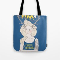 foo fighters Tote Bags featuring Crystal Fighters by Anna Diricheva
