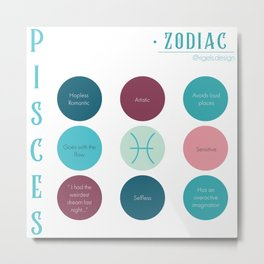 Pisces Zodiac Sign Personality Metal Print