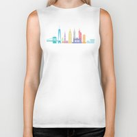 new york skyline Biker Tanks featuring New York Skyline White by Christopher Dina
