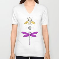 insects V-neck T-shirts featuring Two Insects by Ukko