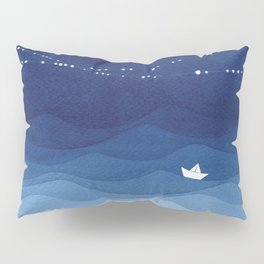 night sky, ocean painting Pillow Sham