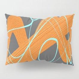 Grey orange and blue Pillow Sham