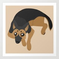 german shepherd Art Prints featuring German Shepherd by Sarah
