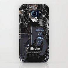 Broken, rupture, damaged, cracked black apple iPhone 4 5 5s 5c, ipad, pillow case and tshirt Slim Case Galaxy S8