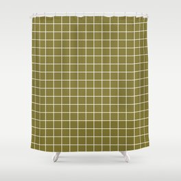 Spanish bistre - green color - White Lines Grid Pattern Shower Curtain