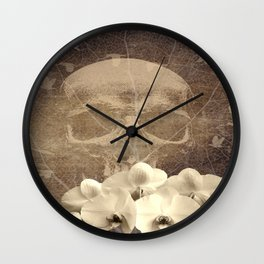 Skull Human Vintage Flowers Digital Collage Wall Clock
