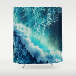 Waving Blue Shower Curtain