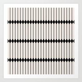 Minimal Geometric Pattern - Black and White Art Print