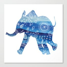 cute baby elephant mandala art Canvas Print