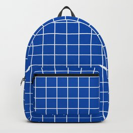 Cobalt blue - blue color -  White Lines Grid Pattern Backpack