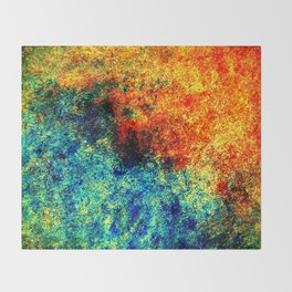 Abstract painting orange blue Throw Blanket