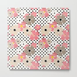 Pink beige flowers on a background of black peas. Metal Print