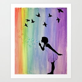 Rainbow Bubbles & Birds in the Wind Art Print