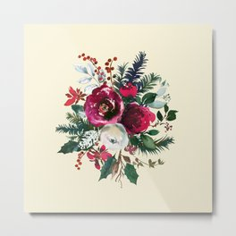 Christmas Winter Floral Bouquet No Text Metal Print