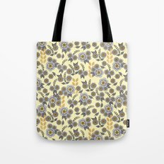 Golden floral with silver on beige Tote Bag