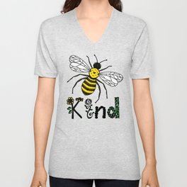 Bee Kind Cute Bee Drawing with Flowers Colored Version Unisex V-Neck