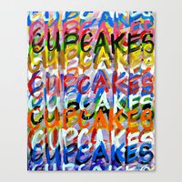 cupcakes Canvas Prints featuring CUPCAKES by Claudia McBain