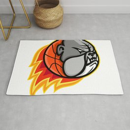 Bulldog Blazing Basketball Mascot Rug