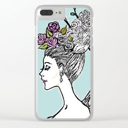 Wedding Princess Hair with Roses Clear iPhone Case