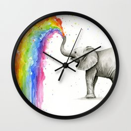 Baby Elephant Spraying Rainbow Wall Clock
