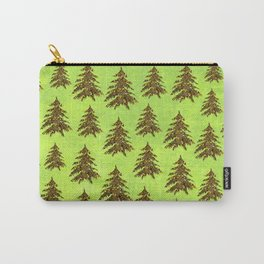 Sparkly Gold Christmas tree on abstract green paper Carry-All Pouch