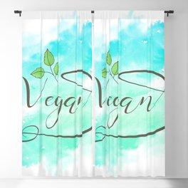 Watercolour Vegan lettering Blackout Curtain