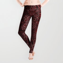 Red Ornate Pattern with 3D effect Leggings