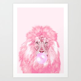 Lion Chewing Bubble Gum in Pink Art Print