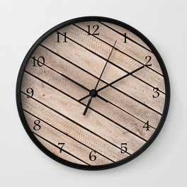 Weathered boards texture abstract Wall Clock