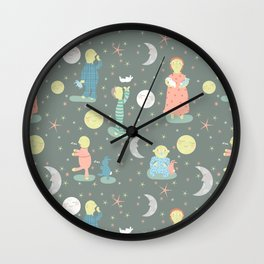 Everybody...off to bed - Childrens book illustration/Pattern Wall Clock