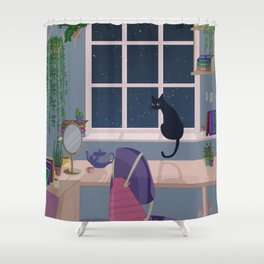 Cat & plant hoarder room Shower Curtain