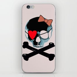 Blue skull with heart and bow iPhone Skin
