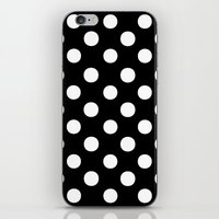 polka dots iPhone & iPod Skins featuring Polka Dots (White/Black) by 10813 Apparel