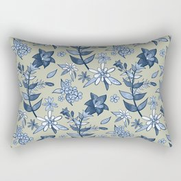 Monochrome Tan and Blue Alpine Flora Rectangular Pillow