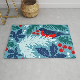 Christmas Tree With Bird and Holly Pattern Rug