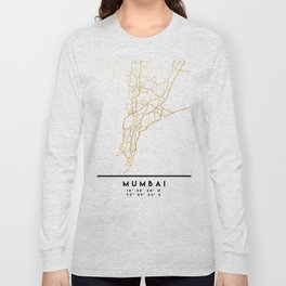 MUMBAI INDIA CITY STREET MAP ART Long Sleeve T-shirt